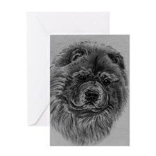 Chow  Chow Dog Headstody - Black Greeting Card