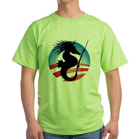 Seahorse and Bayonet Green T-Shirt