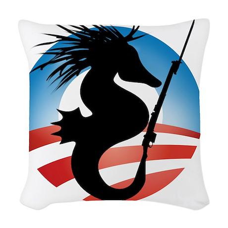 Seahorse and Bayonet Woven Throw Pillow