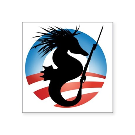 "Seahorse and Bayonet Square Sticker 3"" x 3"""