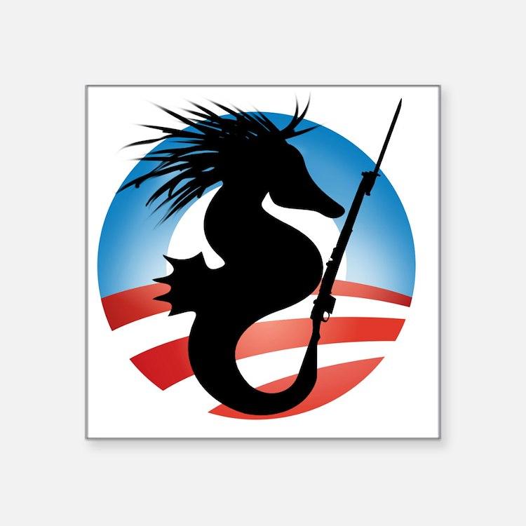 "Seahorse and Bayonet Square Sticker 3"" x 3"""