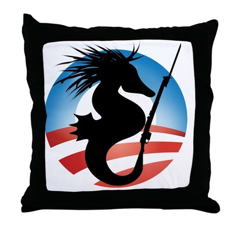 Seahorse and Bayonet Throw Pillow