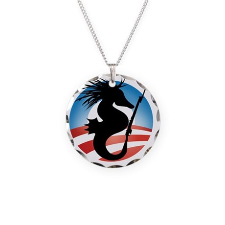 Seahorse and Bayonet Necklace Circle Charm