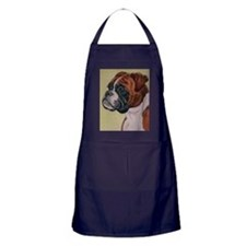 Red Boxer Dog headstudy Apron (dark)