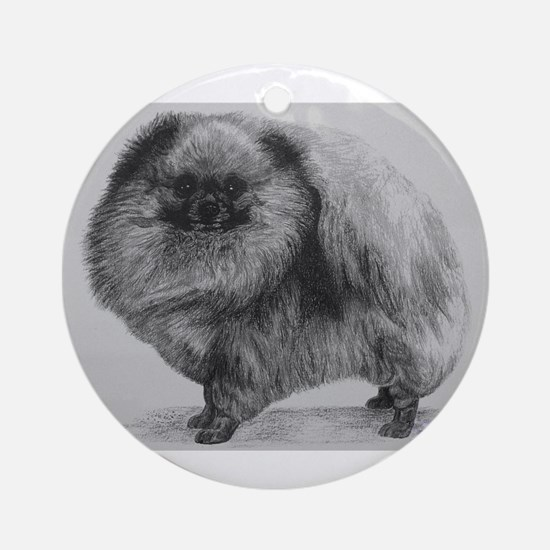 Pomeranian Dog - Black Round Ornament