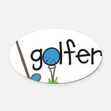 Golfer Oval Car Magnet