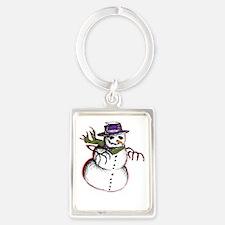 Zombie snowman Portrait Keychain