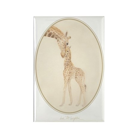 mom & baby giraffe Rectangle Magnet