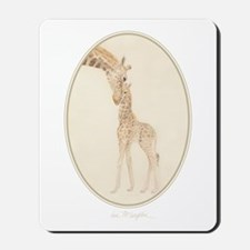 mom & baby giraffe Mousepad