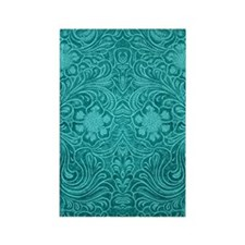 Leather Look Floral Turquoise Rectangle Magnet