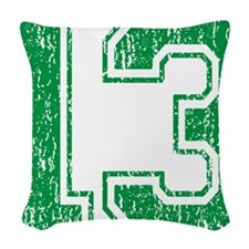 Retro 13 Green Woven Throw Pillow