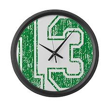 Retro 13 Green Large Wall Clock