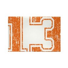 Retro 13 Orange Rectangle Magnet