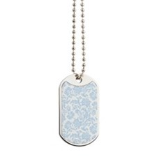 Sky Blue and White Damask Dog Tags