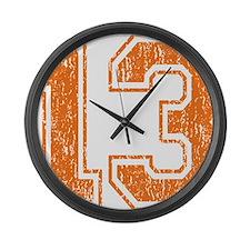 Retro 13 Orange Large Wall Clock