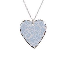 Sky Blue and White Damask Necklace