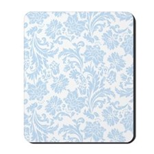 Sky Blue and White Damask Mousepad