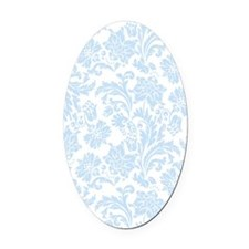 Sky Blue and White Damask Oval Car Magnet