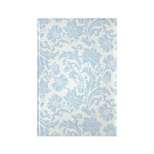 Sky Blue and White Damask Rectangle Magnet