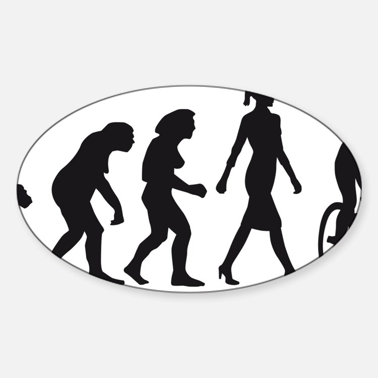 evolution female bicycle racer Decal