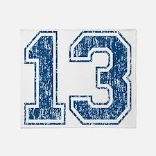 Retro 13 Blue Throw Blanket