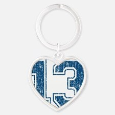 Retro 13 Blue Heart Keychain