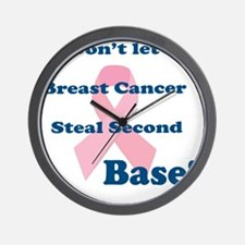 Don't let breast Cancer steal 2nd base Wall Clock