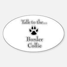 Border Collie Talk Oval Decal