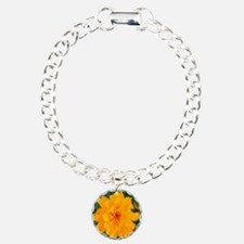 Bursting Orange Marigold Charm Bracelet, One Charm