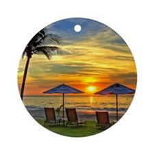 Sunset & Palm Trees Round Ornament