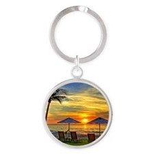 Sunset & Palm Trees Round Keychain