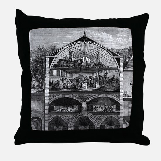 Champagne production, 19th century Throw Pillow