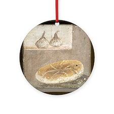 Bread and figs, Roman fresco Round Ornament