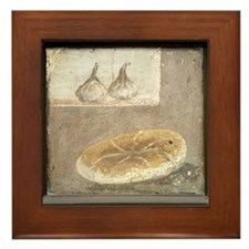 Bread and figs, Roman fresco Framed Tile