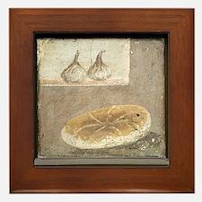Bread and figs, Roman fresco Framed Tile