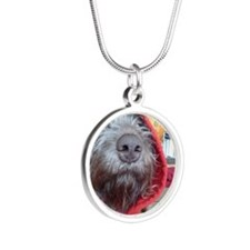 Puppy as Red Riding Hood Silver Round Necklace