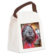 Puppy as Red Riding Hood Canvas Lunch Bag