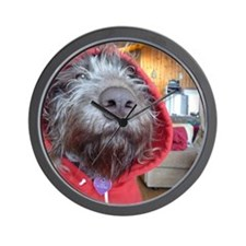 Puppy as Red Riding Hood Wall Clock