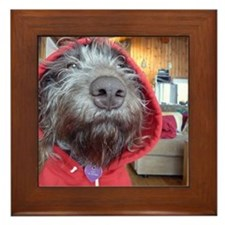 Puppy as Red Riding Hood Framed Tile