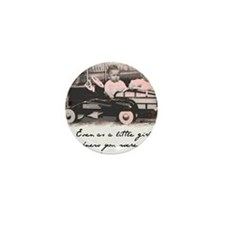 Little Girl and Drivers Seat Mini Button
