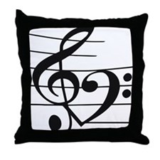 Music heart Throw Pillow