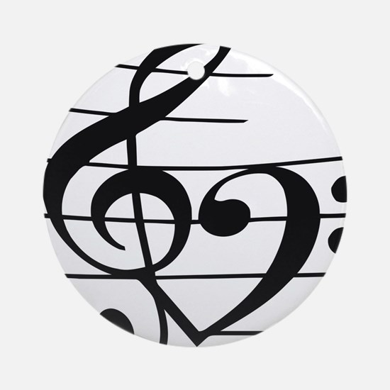 Music heart Round Ornament