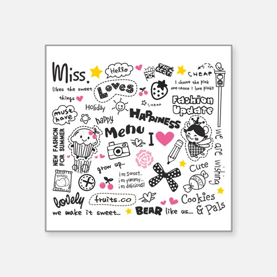 "Images and Words Square Sticker 3"" x 3"""