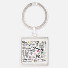 Images and Words Square Keychain