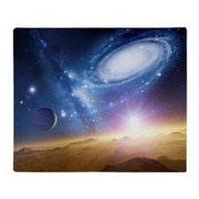 Colliding galaxies, artwork Throw Blanket