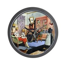 Family life, 1930s artwork Wall Clock