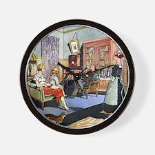Family life, 1930s artwork Wall Clock