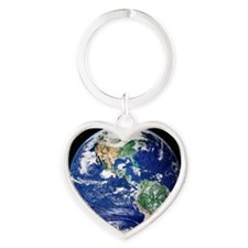Earth from space, satellite image Heart Keychain