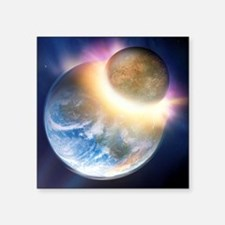 """Formation of the Moon, artw Square Sticker 3"""" x 3"""""""