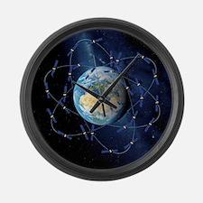 Galileo navigation satellite, art Large Wall Clock